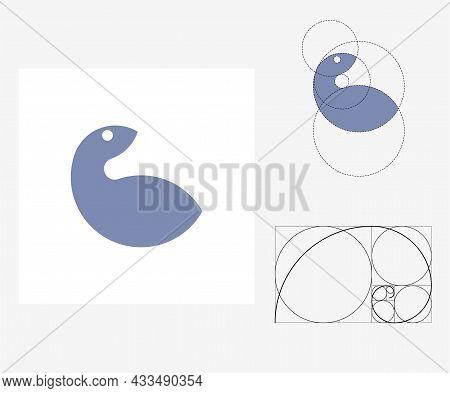 Vector Squirrel In Golden Ratio Style. Editable Illustration