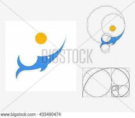 Vector Swordfish In Golden Ratio Style. Editable Illustration