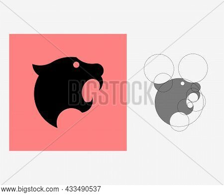 Vector Tiger In Golden Ratio Style. Editable Illustration