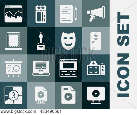 Set Online Play Video, Photo Camera, Backstage, Scenario, Movie Trophy, Makeup Mirror With Lights, M