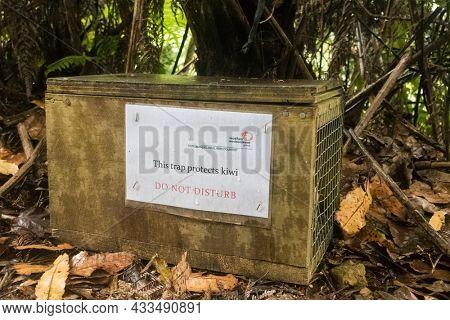 New Zealand January 12, 2016: Predator trap to conserve the kiwi  New Zealand January 12, 2016: Predator trap to conserve the kiwi population. Trap protects kiwi from rats