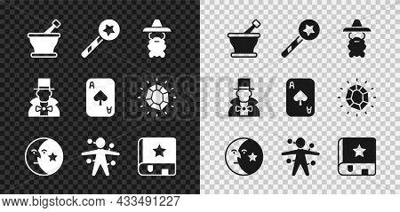 Set Mortar And Pestle, Magic Wand, Wizard Warlock, Moon Stars, Voodoo Doll, Ancient Magic Book, Magi