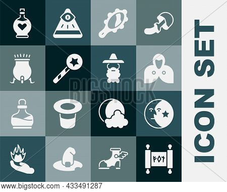 Set Magic Scroll, Moon And Stars, Mantle, Cloak, Cape, Hand Mirror, Wand, Witch Cauldron, Bottle Wit