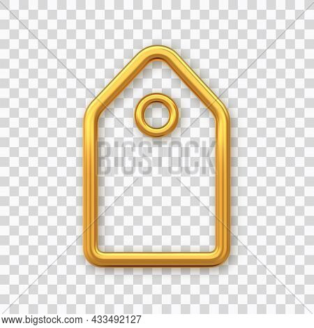 Price Tag. Golden Shining Blank Tag. Discount Label Isolated On Transparent Background. Tag Label Ic