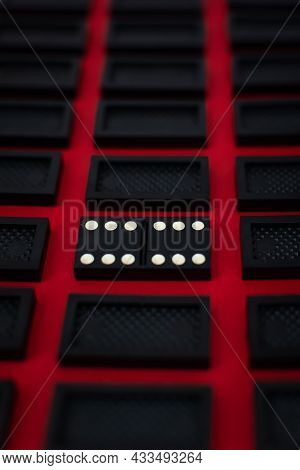 Domino Minimalistic Red And Black Background. Conceptual Modern Art Design. Six By Six Is An Open Ca