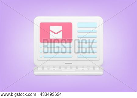 Web Newsletter And Mail 3d Icon. Online Mail Service On Laptop Screen