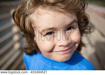 Head Close Up. Close Up Head Shot Of Child. Kids Face, Little Boy Portrait.
