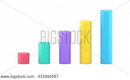 Bar Graphs Chart 3d Icon. Multicolored Vertical Bars Representating Data
