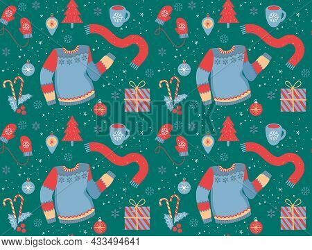 Seamless Christmas Pattern With Christmas Tree, Christmas Balls, Holly, Gift Box, Mittens, Sweater A