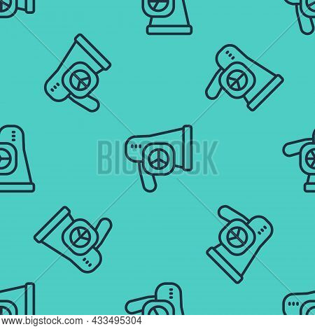 Black Line Peace Icon Isolated Seamless Pattern On Green Background. Hippie Symbol Of Peace. Vector