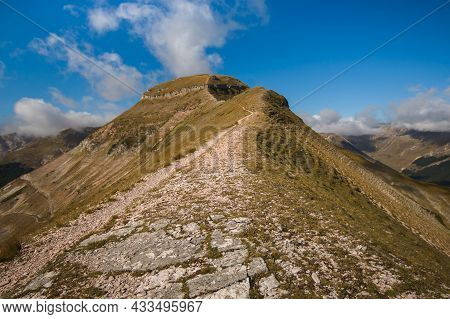 Panoramic View Of Monte Sibilla During Summer Day Of Sun In The National Park Of Monti Sibillini, Ma