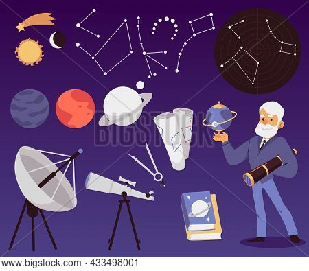 Background With Astronomy Scientist Exploring Stars, Flat Vector Illustration.