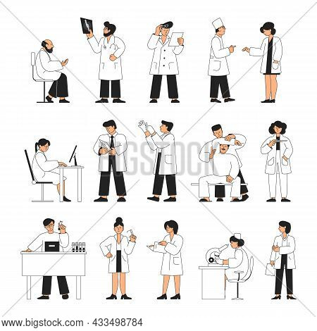 Doctors And Nurses. Isolated Medical Group, People In White Uniform. Pharmacist, Physician And Docto