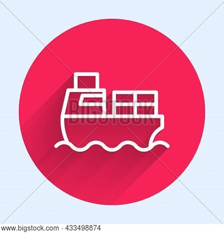 White Line Cargo Ship With Boxes Delivery Service Icon Isolated With Long Shadow Background. Deliver