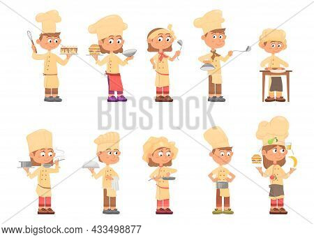 Children Cooks. Kids Chefs, Isolated Child Cook. Emotional Cartoon Boys Wear Professional Uniform. C