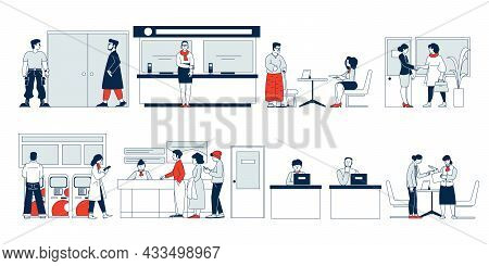 Bank Clients Service. Flat Banking Client, Security And Reception Desk. People In Office, Financial