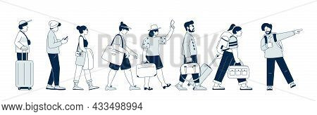 Tourists Walking. Young Businessman Travel, People Walk With Suitcase. Family Travelling, Person On