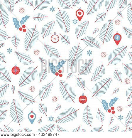 Seamless Christmas Pattern With Christmas Tree Branches, Christmas Balls And Holly. Wrapping Paper T