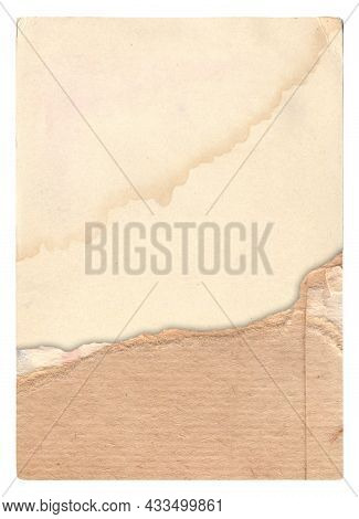 Old Paper With Scratches And Stains Texture Isolated On White