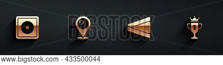 Set Billiard Chalk, Location With Billiard Ball, Triangle And Award Cup Icon With Long Shadow. Vecto