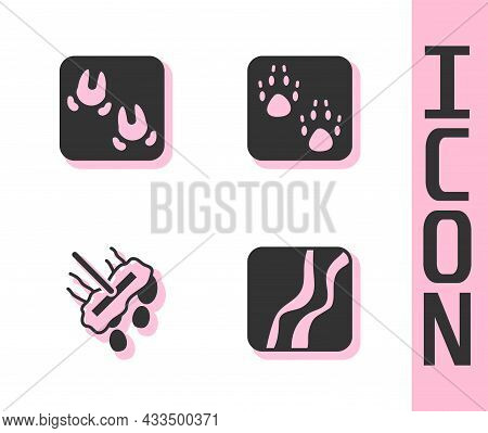Set Snake Paw Footprint, Wild Boar, Mop And Paw Icon. Vector
