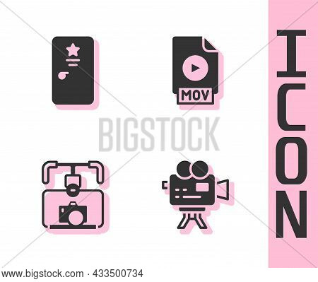 Set Retro Cinema Camera, Backstage, Gimbal Stabilizer With And Mov File Document Icon. Vector
