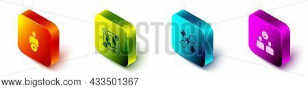 Set Isometric Loss Of Friend, International Community, Puzzle Pieces Toy And Complicated Relationshi