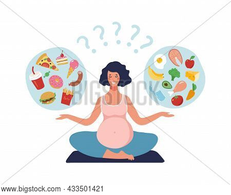 Healthy Nutrition Of A Pregnant Woman. A Pregnant Girl Practices Yoga And Chooses Between Healthy An