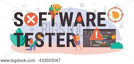 Software Tester Typographic Header. Application Or Website