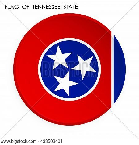 American State Of Tennessee Flag Icon In Modern Neomorphism Style. Button For Mobile Application Or