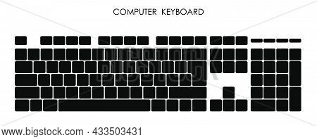 Keys Of Wireless Personal Computer Keyboard. Letters And Symbols On Buttons. Simple Black And White