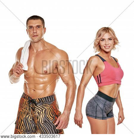 Active Young Sporty Couple Posing On White Background, People Who Love Sports And Fitness, Studio Ph