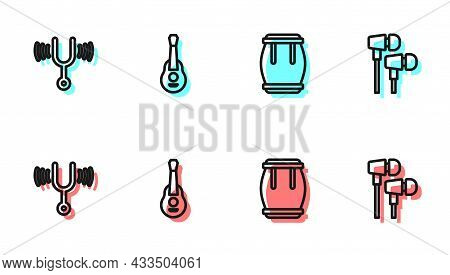 Set Line Drum, Musical Tuning Fork, Guitar And Air Headphones Icon. Vector