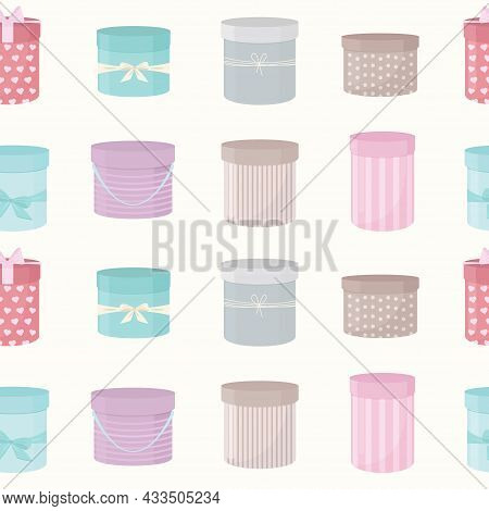 Seamless Pattern. Hat Boxes. Print For Holidays, Birthday, Valentine's Day. Vector Illustration.