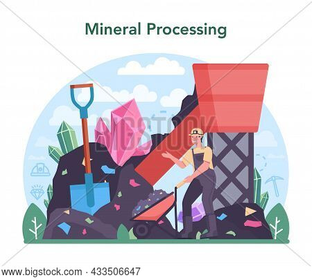 Nonferrous Metallurgy Concept. Ore Extracting And Production