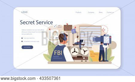 Fbi Agent Web Banner Or Landing Page. Police Officer Or Inspector