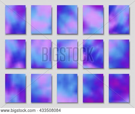 Set Of Blurred Backgrounds In Tie Dye Style For Covers, Posters, Flyers, Cards, Invitations. Vector