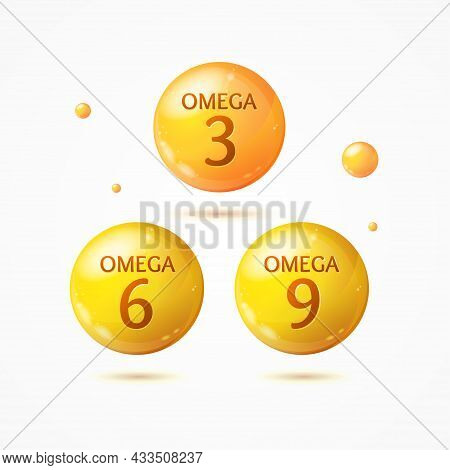 Realistic Detailed 3d Different Omega 3 Omega 6 Omega 9 Polyunsaturated Acids Pill Capsule Set. Vect