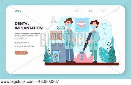 Dentist Web Banner Or Landing Page. Dental Doctor In Uniform Implanting