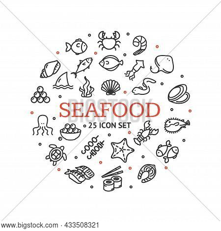 Seafood Round Design Template Contour Lines Icon Concept For Promotion, Marketing And Advertising. V