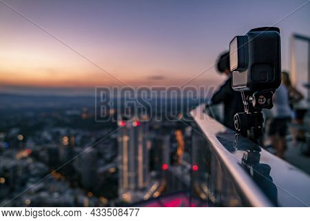 Action Cam Filming The Financial District In Frankfurt, Germany - Europe