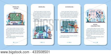 Crafting And Modeling School Course Mobile Application Banner Set