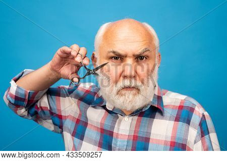 Portrait Of Stylish Man Bearded Man With Grey Moustache Beard Hold Barber Scissors. Bearded Man, Bea