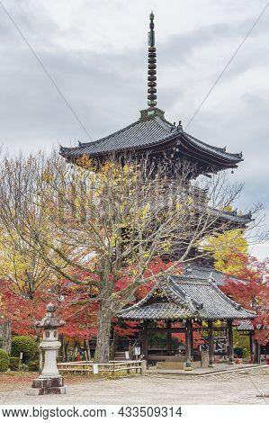 Pagoda In Japanese Temple Shinnyodo Temple In Kyoto, Japan