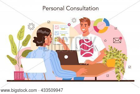 Professional Consulting Service. Personal Consultation. Specialist Making
