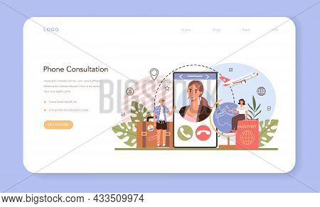 Tourism Expert Web Banner Or Landing Page. Phone Consultation