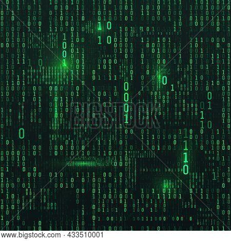 Matrix Of Binary Numbers. Sci-fi Background. Binary Computer Code. Green Digital Numbers. Futuristic