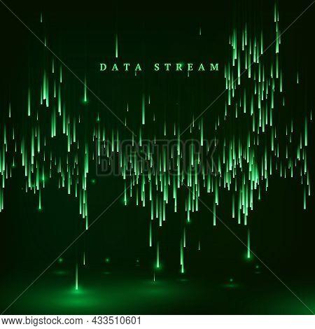 Matrix. Green Color Background In A Matrix Style. Data Stream. Falling Random Data Block. Cyberspace