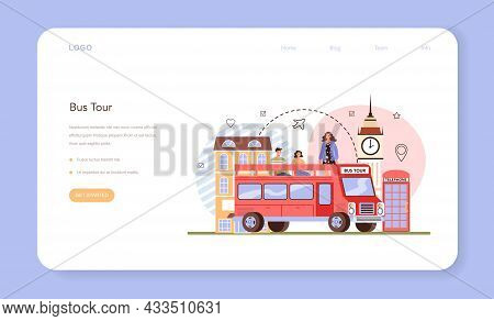 Tour Guide Web Banner Or Landing Page. Bus Tour, Tourists Listening