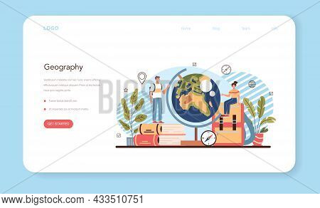 Geography Class Web Banner Or Landing Page. Studying The Lands, Features
